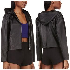 T by Alexander Wang  Lambskin Black Hooded Jacket